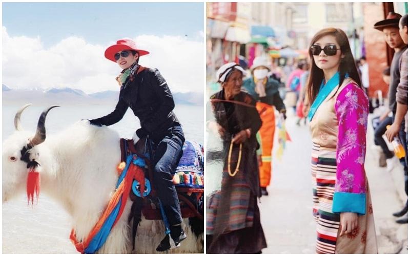 Du lịch Tây Tạng hoa hậu Đền Hùng Giáng My hóa nữ cao bồi xinh đẹp
