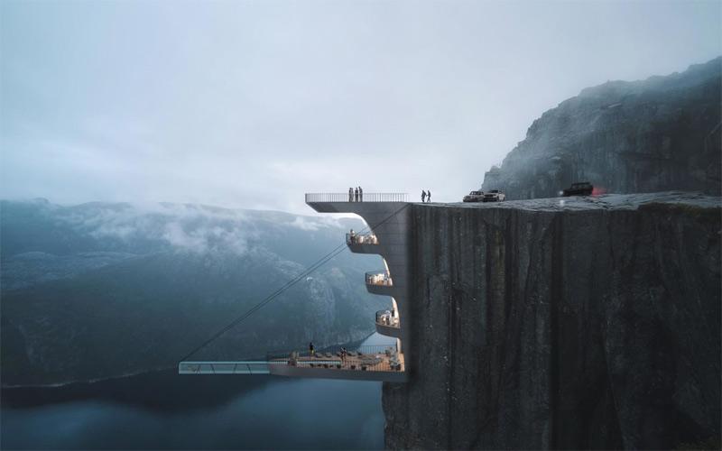 Đẹp hay đáng sợ ý tưởng xây khách sạn trên mỏm đá Preikestolen?