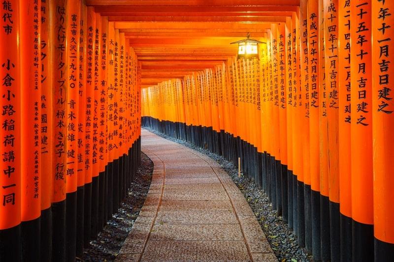 Cổng Torri huyền thoại ở Đền Fushimi Inari Taisha