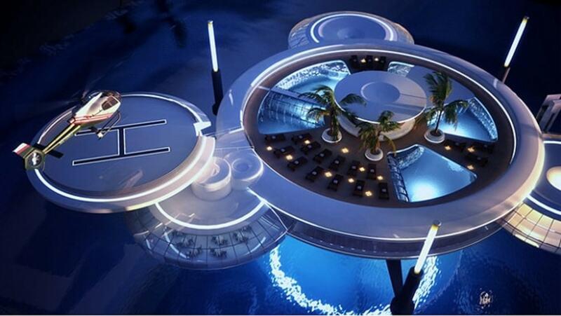 Phần nổi trên mặt nước gồm: hồ bơi, khu sân vườn trên tầng thượng, chỗ để máy bay trực thăng có thể hạ cánh