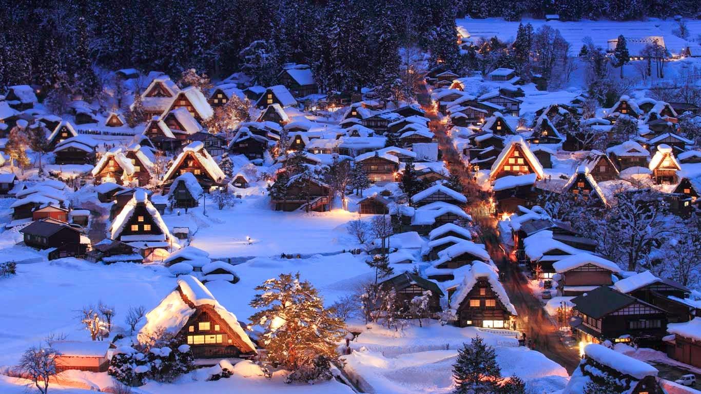 làng cổ Shirakawa-go vào mùa đông