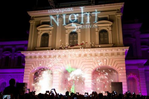 Trình diễn ánh snags trong lễ hội đêm SIngapore