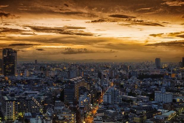 Khung cảnh thành phố Tokyo chiều hoàng hôn