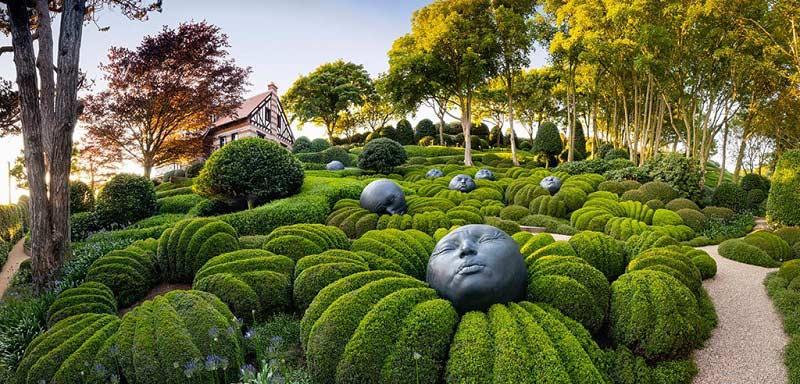 khu vườn đá mặt người