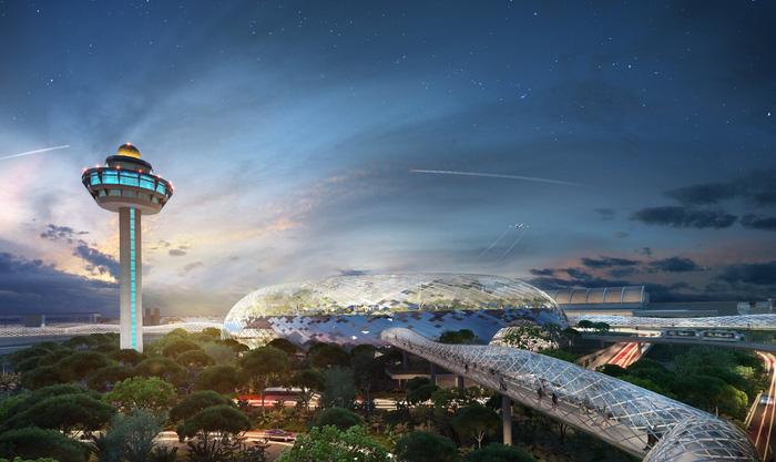 Cảng sân bay Jewel Changi bao gồm khu phức hợp  tham quan giải trí, cửa hàng, khách sạn và các cơ sở kết nối cảng 1, 2 và 3