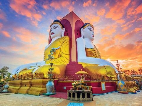 Phật tứ diện chùa Kyaik Pun- Yagon