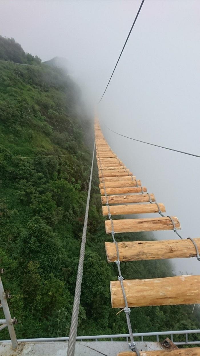 Cây cầu ẩn mình trong sương mù.