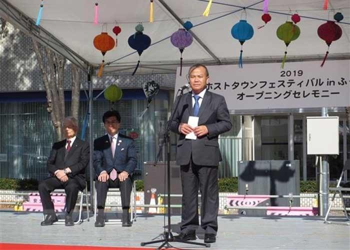 Đại sứ Việt Nam tại Nhật Bản Vũ Hồng Nam phát biểu tại lễ hội. Ảnh: Đào Thanh Tùng/TTXVN