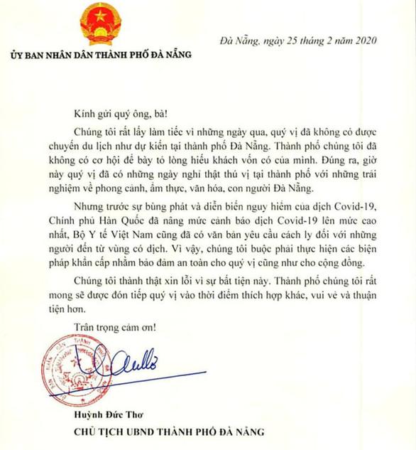 Nội dung toàn bộ bức thư gởi đến nhóm du khách Hàn Quốc của ông Huỳnh Đức Thơ. Ảnh: Tuổi trẻ