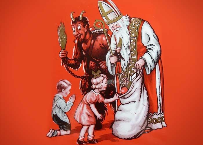 Krampus sinh ra là để trừng phạt những đứa trẻ hư. Ảnh: Twitter.com
