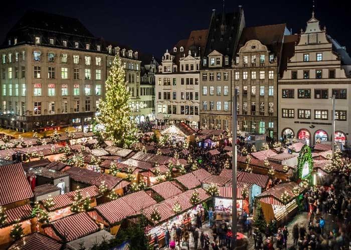 Khu chợ Giáng sinh Leipzig. Ảnh: Twitter.com