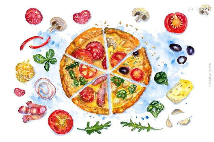 Tùy vào cách biến tấu mà pizza có nhiều loại với những mùi vị khác nhau- món ngon Italia