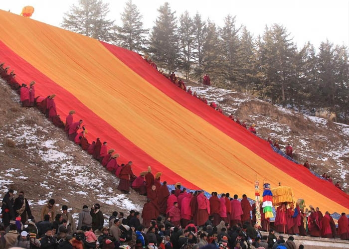 Tấm thảm khổng lồ được rước lên núi để tắm nắng. Ảnh: upi.com