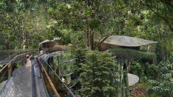hoa minh vao thien nhien voi khu nghi duong trong rung tai Singapore