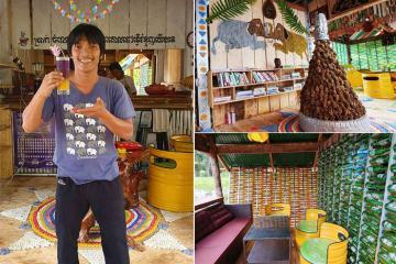 Độc đáo quán cafe cho khách đổi rác lấy đồ uống tại Campuchia