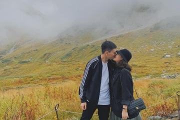 Vợ chồng Kiên Hoàng cùng leo núi Tateyama đón mùa thu