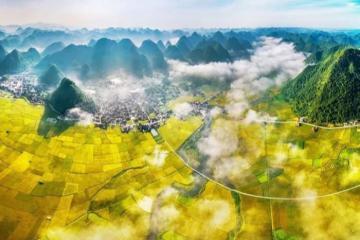 Ngắm thung lũng Bắc Sơn đẹp tựa bức tranh vào mùa lúa chín