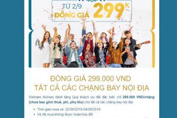 Siêu bão: Vietnam Airlines ưu đãi đồng giá 299.000 VND tất cả các chặng bay nội địa