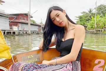 Nữ hoàng gợi cảm xứ Hàn Clara đi chợ nổi khi du lịch Thái Lan