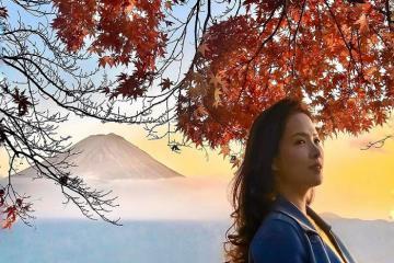 MC Đan Lê du lịch Nhật Bản chụp ảnh cùng núi Phú Sĩ