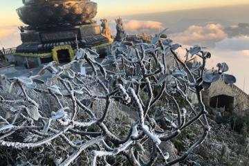 Băng tuyết phủ trắng đỉnh Fansipan tín đồ du lịch háo hức đón tuyết đầu mùa